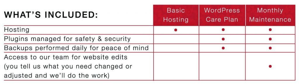 WordPress Care Plan Options